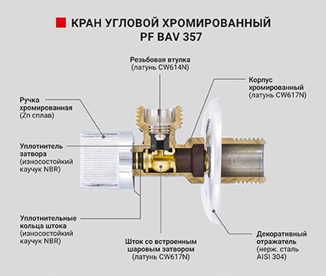 Кран угловой хромированный с металлической ручкой  - PF BAV 357