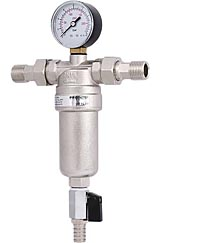 Фильтр промывной с манометром и латунной колбой (для горячей воды)