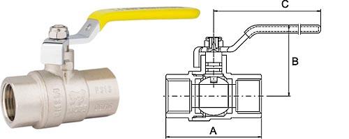 Кран шаровой для газа в/в, ручка-рычаг